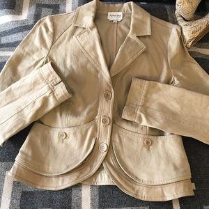 Armani Collezioni jacket tan leather /twill size 6